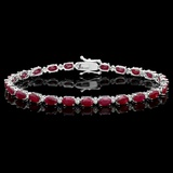 14k Gold 14.00ct Ruby & 0.50ct Diamond Bracelet