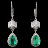 18K White Gold 1.51ct Emerald & 0.73ct Diamond Ear