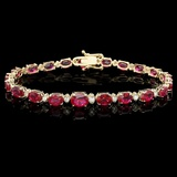 14k Gold 17.00ct Ruby & 0.70ct Diamond Bracelet