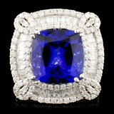 18K Gold 9.30ct Tanzanite & 3.13ctww Diamond Ring