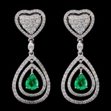 18K White Gold 1.29ct Emerald & 2.30ct Diamond Ear