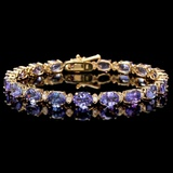 14k Gold 17.00ct Tanzanite & 0.70ct Diamond Brace