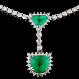 18K White Gold 3.03ct Emerald & 5.06ct Diamond Nec
