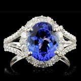 18K White Gold 2.85ct Tanzanite & 1.17ctw Diamond