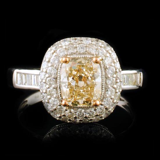18K White Gold 1.75ctw Fancy Yellow Diamond Ring