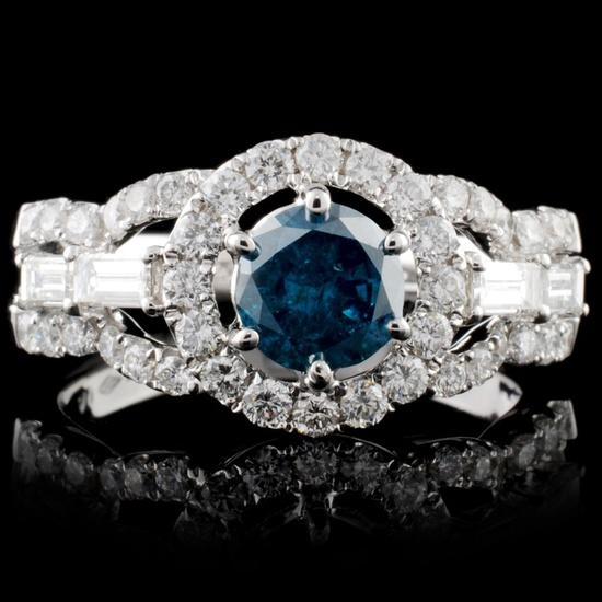 18K White Gold 1.64ctw Fancy Color Diamond Ring