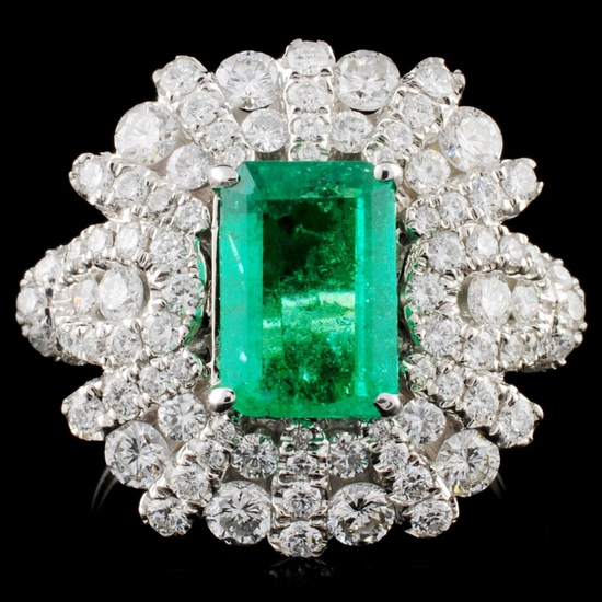 18K White Gold 1.77ct Emerald & 1.55ct Diamond Rin
