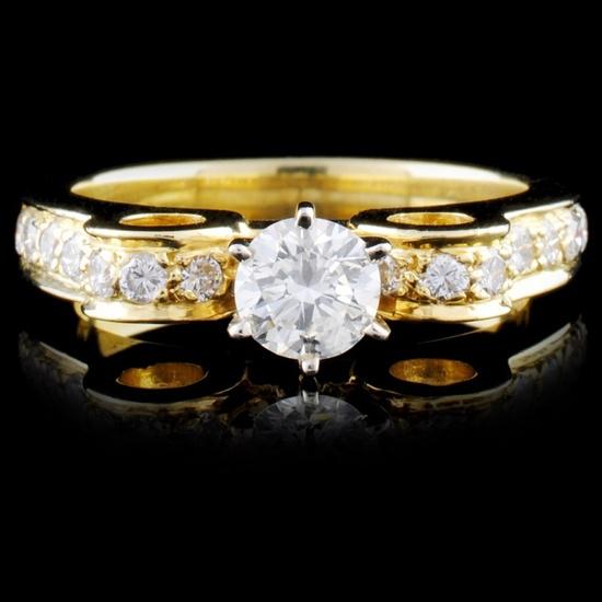 18K Yellow Gold 0.92ctw Diamond Ring