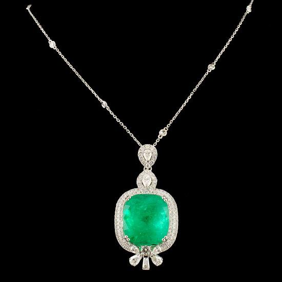 18K Gold 28.24ct Emerald & 3.50ctw Diamond Pendant