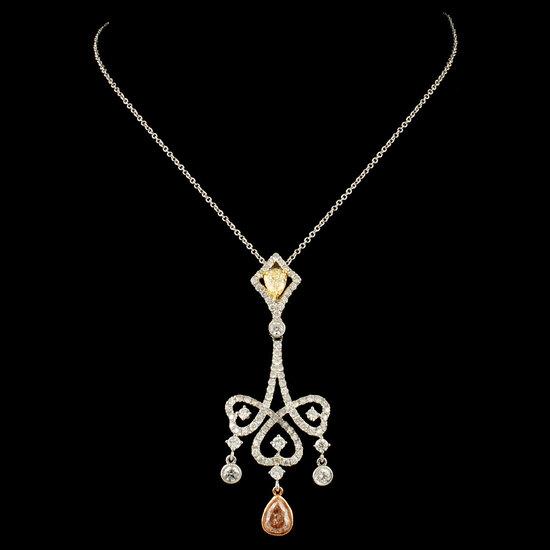 18K Gold 2.18ctw Fancy Diamond Pendant
