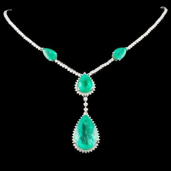 18K Gold 25.31ctw Emerald & 3.78ctw Diamond Neckla