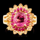 18K Gold 2.43ct Sapphire & 0.41ctw Diamond Ring