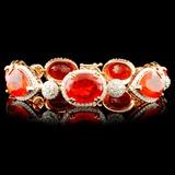 14K Gold 27.24ctw Opal & 3.42ctw Diamond Bracelets