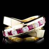 14K Yellow Gold 1.38ct Ruby & 0.57ct Diamond Ring