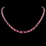 14K Gold 30.00ctw Ruby & 1.00ctw Diamond Necklace