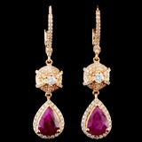 18K Gold 3.06ct Ruby & 0.83ctw Diamond Earrings