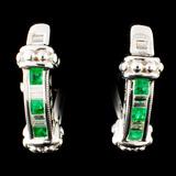 14K Gold 0.48ct Emerald & 0.32ctw Diamond Earrings