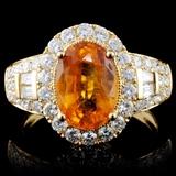 18K Gold 3.10ct Sapphire & 1.04ct Diamond Ring