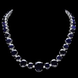 14k Gold 170.00ct Sapphire & 2.00ct Diamond Neckl
