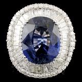 18K Gold 21.41ct Sapphire & 5.93ctw Diamond Ring