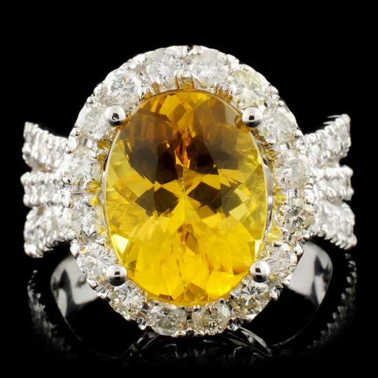 14K Gold 3.49ct Beryl & 1.35ctw Diamond Ring
