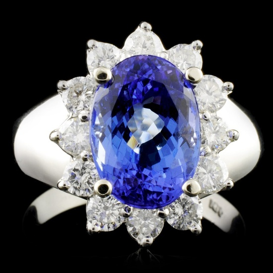 14K Gold 3.74ct Tanzanite & 0.88ctw Diamond Ring