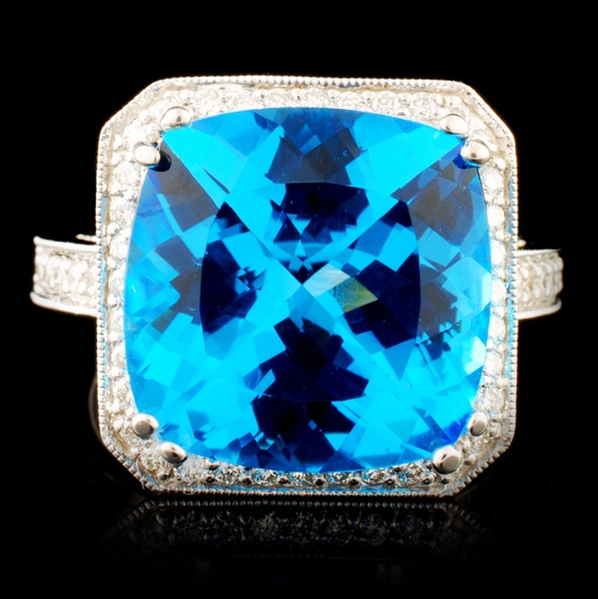 18K Gold 10.36ctw Topaz & 0.98ctw Diamond Ring