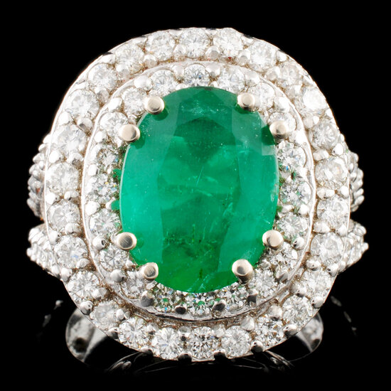 14K Gold 3.69ct Emerald & 2.32ctw Diamond Ring