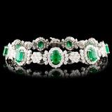 18K Gold 15.04ct Emerald & 7.29ctw Diamond Bracele