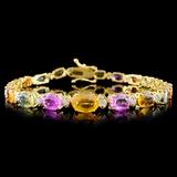 14K Yellow Gold 12.00ct Sapphire & .75ct Diamond B