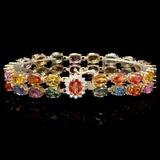 14k Gold 35.00ct Sapphire & 0.50ct Diamond Bracel