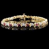 14K Yellow Gold 1.80ct Ruby & 0.25ct Diamond Brace