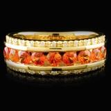 14K Yellow Gold 1.06ct Sapphire & 0.10ctw Diamond