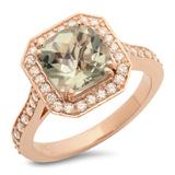 14K Gold 2.50ct Green Amethyst & 0.50ct Diamond Ri