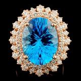 14K Gold 11.85ct Topaz & 1.82ctw Diamond Ring