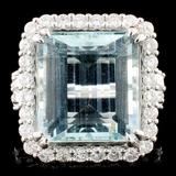 18K Gold 12.49ct Aquamarine & 1.42ctw Diamond Ring