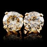 14K Yellow Gold 3.36ct Fancy Color Diamond Earring