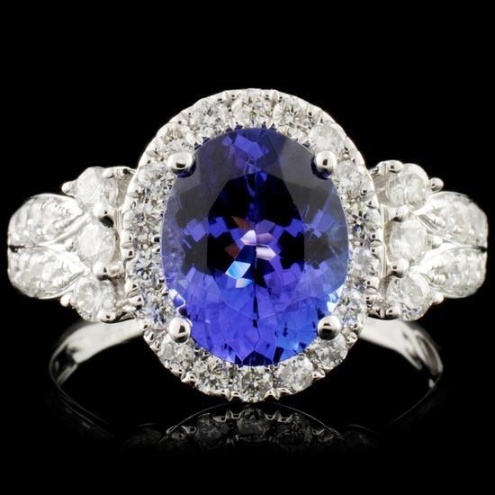 18K Gold 2.26ct Tanzanite & 0.71ctw Diamond Ring