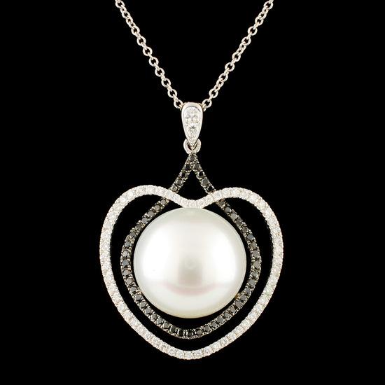 18K Gold 12.50MM Pearl & 0.49ctw Diamond Pendant