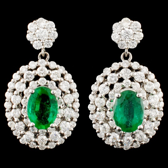 14K Gold 1.39ct Emerald & 1.52ctw Diamond Earrings