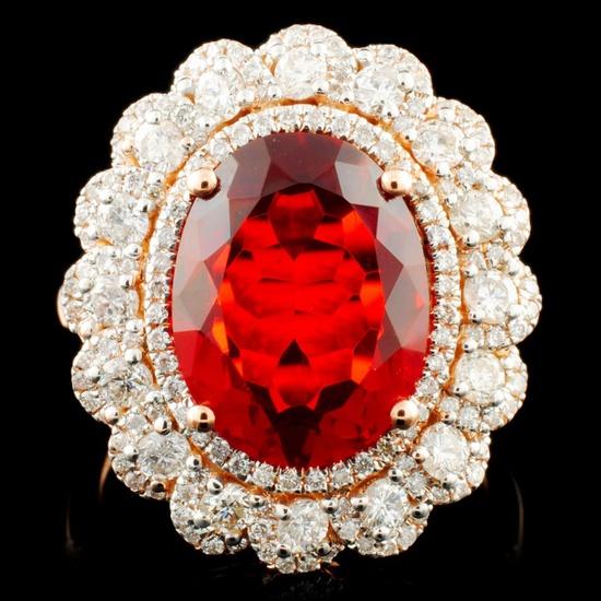 14K Gold 3.02ct Opal & 1.11ctw Diamond Ring