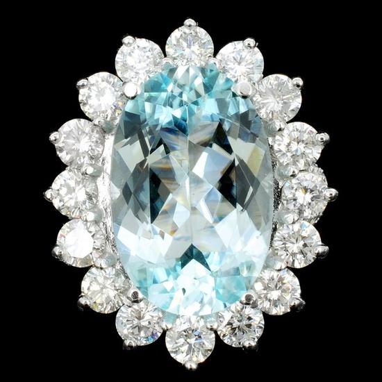 14K White Gold 8.79ct Paraiba & 3.05ct Diamond Rin