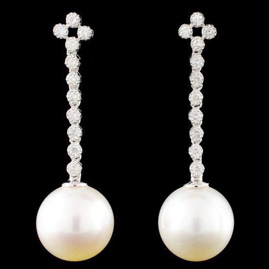 18K Gold 12MM Pearl & 0.50ctw Diamond Earrings