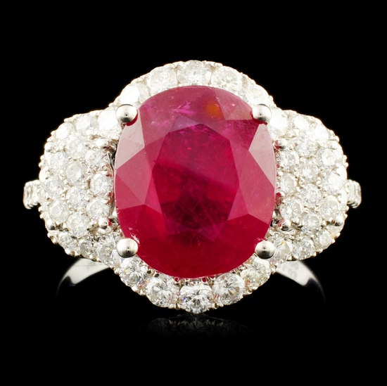 14K Gold 5.00ct Ruby & 1.03ctw Diamond Ring