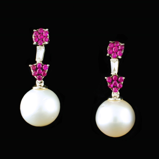 18K Gold 12.00MM Pearl 0.55ct Ruby & 0.14ctw Dia E