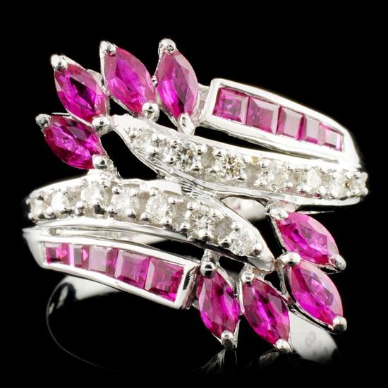 18K Gold 1.30ct Ruby & 0.18ctw Diamond Ring