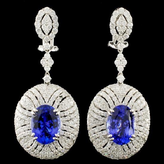 18K Gold 7.32ctw Tanzanite & 4.08ctw Diamond Earri
