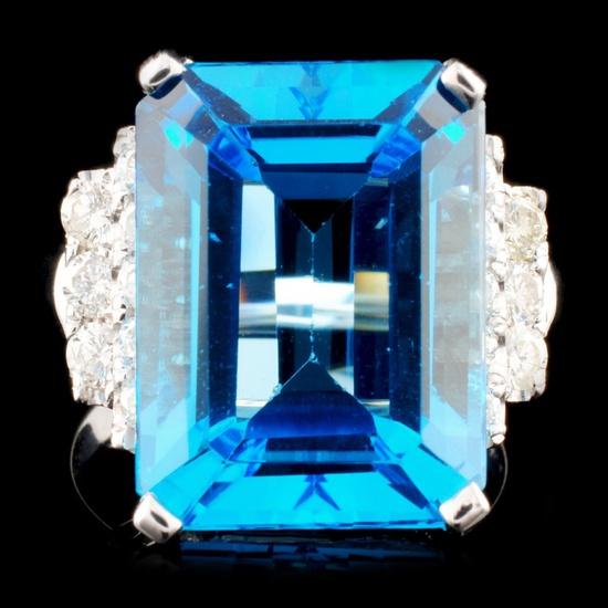 18K Gold 13.17ct Topaz & 0.64ctw Diamond Ring