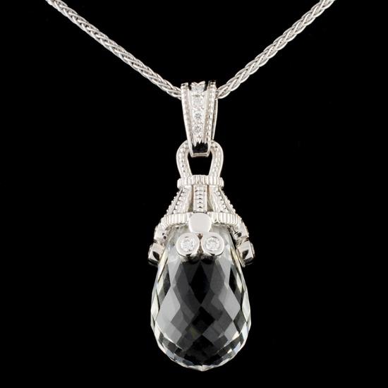18K Gold 15.76ct Quartz & 0.24ctw Diamond Pendant