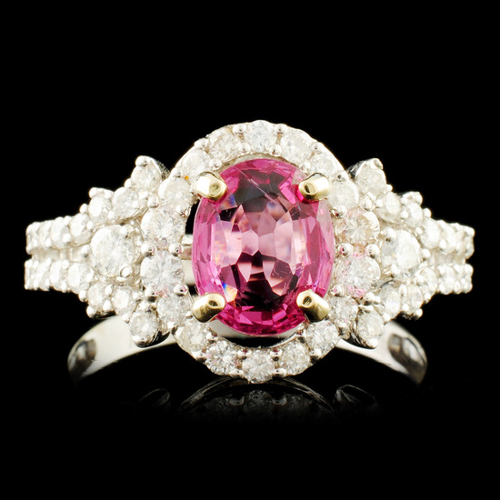 18K Gold 1.59ct Spinel & 0.84ctw Diamond Ring